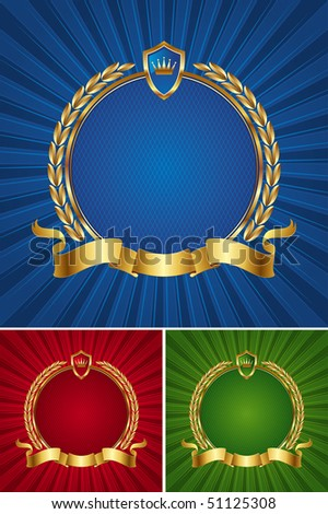 Round golden frame with ribbon and wreath - stock photo
