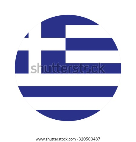 Round greece flag raster icon isolated, greece flag button - stock photo