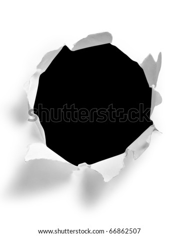 Round hole in paper with black background inside - stock photo