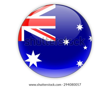 Round icon with flag of australia isolated on white - stock photo