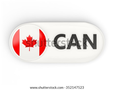 Round icon with flag of canada and ISO code - stock photo