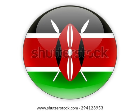 Round icon with flag of kenya isolated on white - stock photo