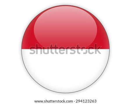 Round icon with flag of monaco isolated on white - stock photo
