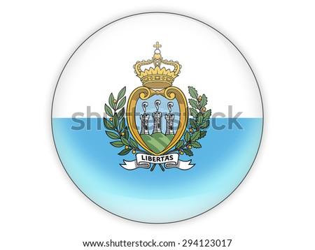 Round icon with flag of san marino isolated on white - stock photo