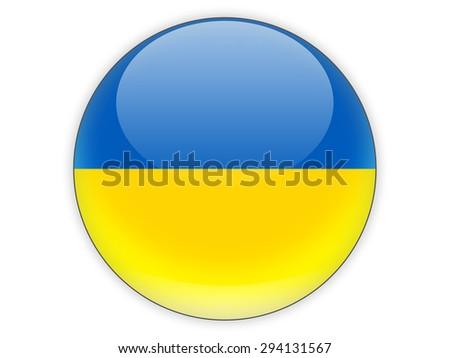 Round icon with flag of ukraine isolated on white - stock photo