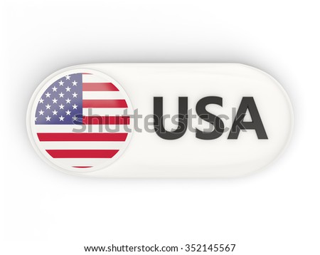 Round icon with flag of united states of america and ISO code - stock photo