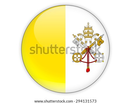 Round icon with flag of vatican city isolated on white - stock photo