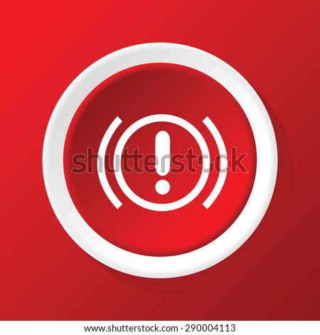 Round icon with image of alert sign, on red background - stock photo