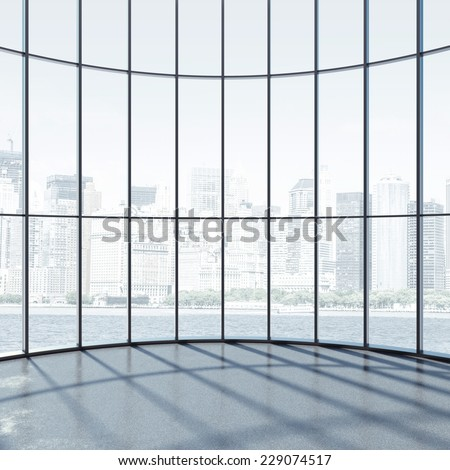 Round interior with large windows - stock photo
