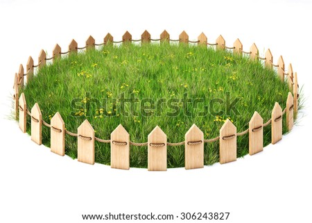 round island with a grass lawn enclosed by a wooden fence. isolated on white background. - stock photo