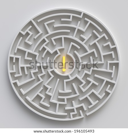 round labyrinth concept, white 3d maze with exclamation point - stock photo