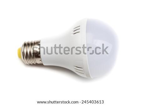 Round LED lamp (lies horizontally). Isolate on White. - stock photo