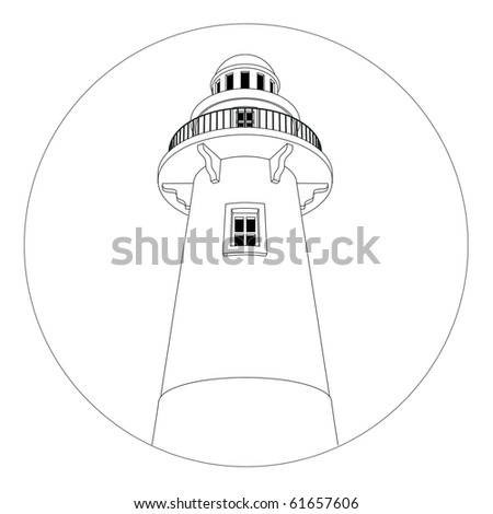 Round lighthouse logo in black and white. - stock photo