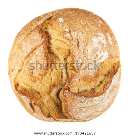 Round loaf of bread isolated over the white background, above view - stock photo
