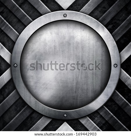 round metal background - stock photo