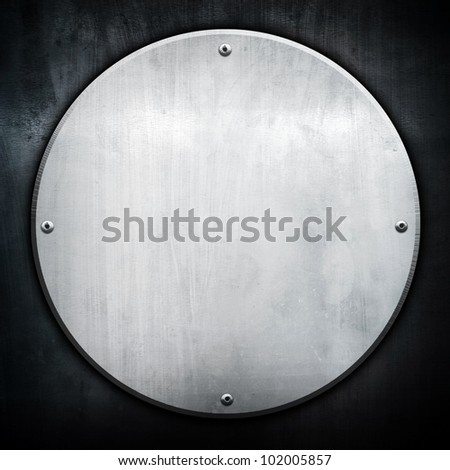 round metal plate - stock photo
