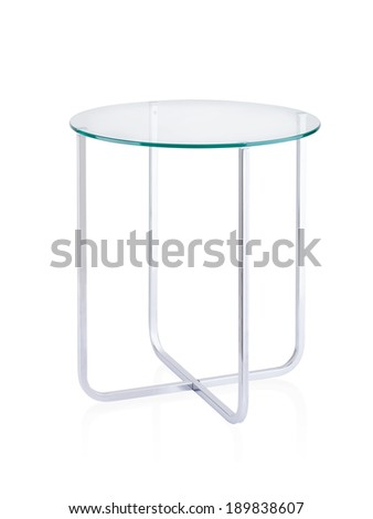 round mirror table isolated on white background - stock photo