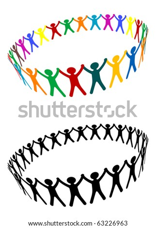 Round of peoples as a friendship symbol - also as emblem or logo template. Vector version also available in gallery - stock photo