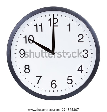 Round office clock showing ten o'clock isolated on white background - stock photo