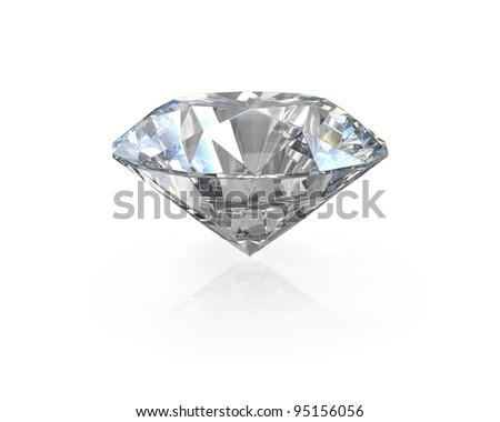 Round, old european cut diamond, isolated on white background - stock photo