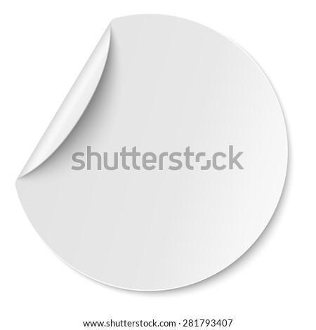 Round paper sticker placed on white - stock photo