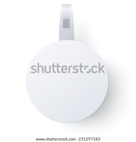 Round paper wobbler with transparent strip isolated on a white background. Raster version illustration. - stock photo