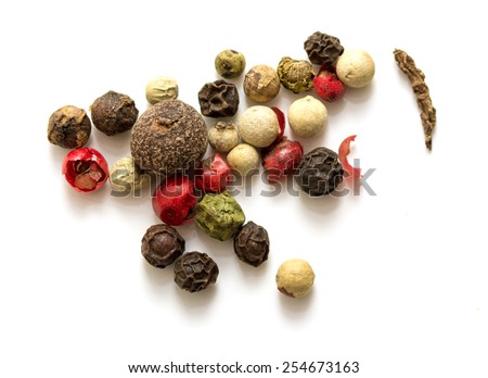 Round pepper on a white background, spices - stock photo