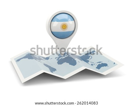 Round pin with flag of argentina on the map - stock photo