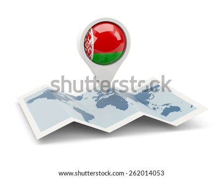 Round pin with flag of belarus on the map - stock photo