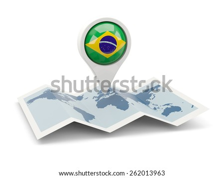 Round pin with flag of brazil on the map - stock photo
