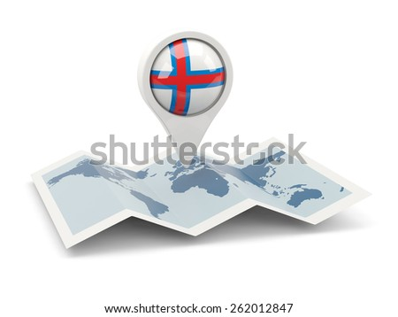 Round pin with flag of faroe islands on the map - stock photo