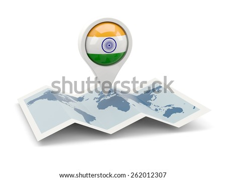 Round pin with flag of india on the map - stock photo