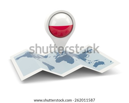 Round pin with flag of poland on the map - stock photo