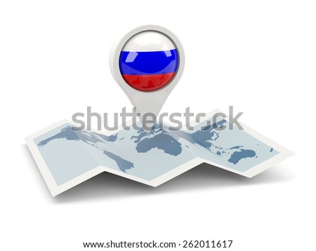 Round pin with flag of russia on the map - stock photo