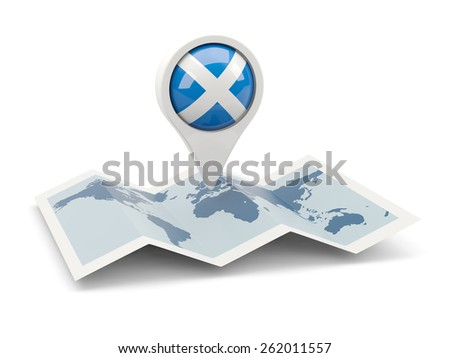 Round pin with flag of scotland on the map - stock photo