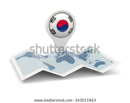 Round pin with flag of south korea on the map - stock photo