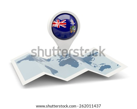 Round pin with flag of south sandwich islands on the map - stock photo