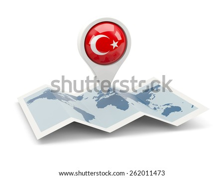 Round pin with flag of turkey on the map - stock photo