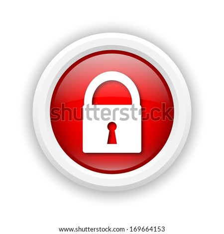 Round plastic icon with white design on red background - stock photo
