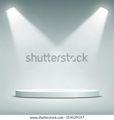 Round podium illuminated by spotlights. Stock image. - stock photo