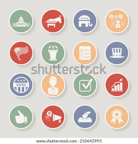 Round political election campaign icons set. Raster version - stock photo