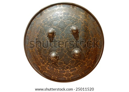 round shield is isolated on white - stock photo