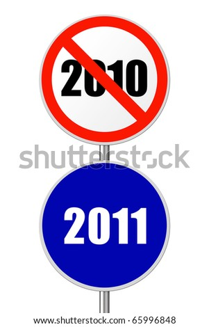 Round sign 2011 - New Year concept isolated on white background - stock photo
