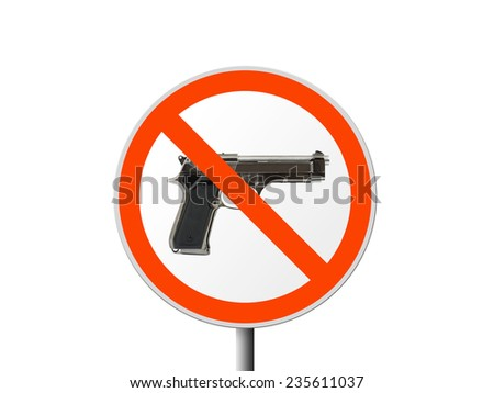 Round sign No gun isolated on white background - stock photo