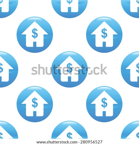 Round sign with house and dollar symbol on it, repeated on white background - stock photo