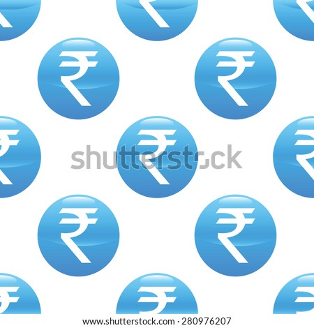 Round sign with indian rupee symbol repeated on white background - stock photo