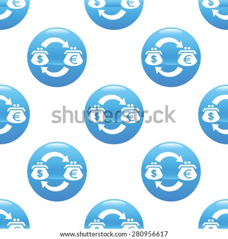 Round sign with wallets, currency symbols and exchange arrows, repeated on white background - stock photo