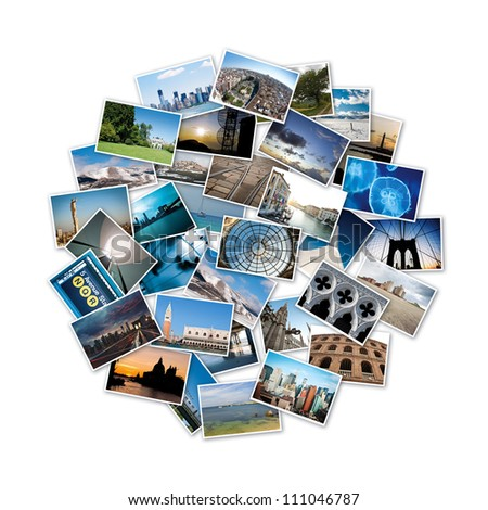 Round stack of travel images from the world. - stock photo