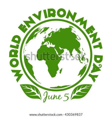 Round stamp for World Environment Day. June 5. Environment Day logo design isolated on white background - stock photo