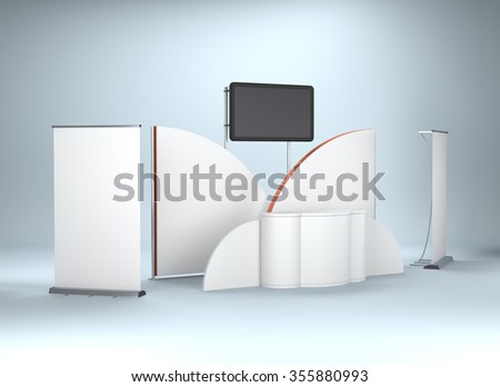 round stand design in exhibition with tv display. 3D rendering - stock photo